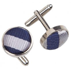 Navy Blue & Silver Thin Stripe Cufflinks