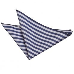 Navy Blue & Silver Thin Stripe Pocket Square