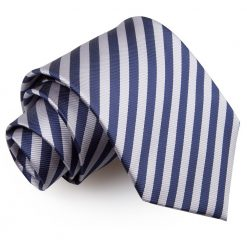 Navy Blue & Silver Thin Stripe Classic Tie