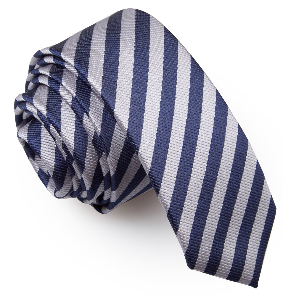Men S Thin Stripe Navy Blue Amp Silver Skinny Tie