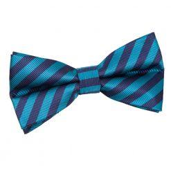 Navy Blue & Teal Thin Stripe Pre-Tied Bow Tie