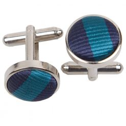 Navy Blue & Teal Thin Stripe Cufflinks