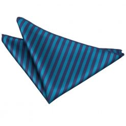 Navy Blue & Teal Thin Stripe Pocket Square