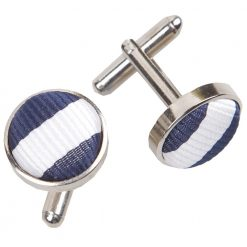 White & Navy Blue Thin Stripe Cufflinks
