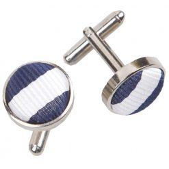 White & Navy Blue Thin Stripe Cufflinks