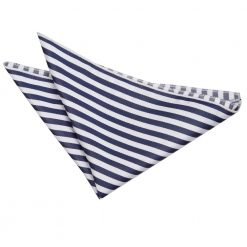 White & Navy Blue Thin Stripe Pocket Square