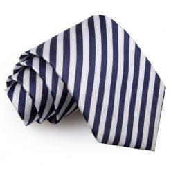 White & Navy Blue Thin Stripe Classic Tie