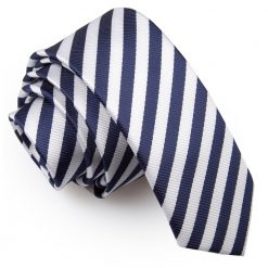 White & Navy Blue Thin Stripe Skinny Tie