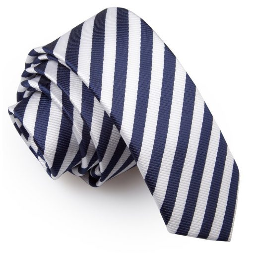 White & Navy Blue Thin Stripe Skinny Tie
