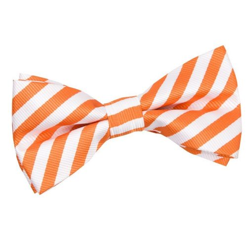 White & Orange Thin Stripe Pre-Tied Bow Tie