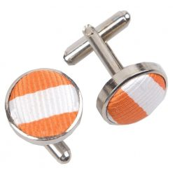 White & Orange Thin Stripe Cufflinks