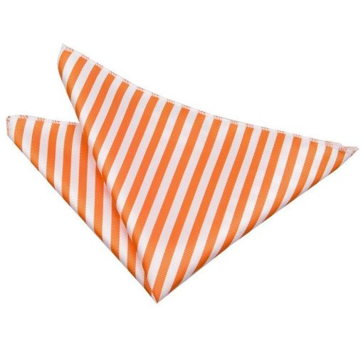 White & Orange Thin Stripe Handkerchief / Pocket Square