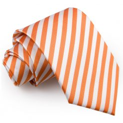 White & Orange Thin Stripe Classic Tie