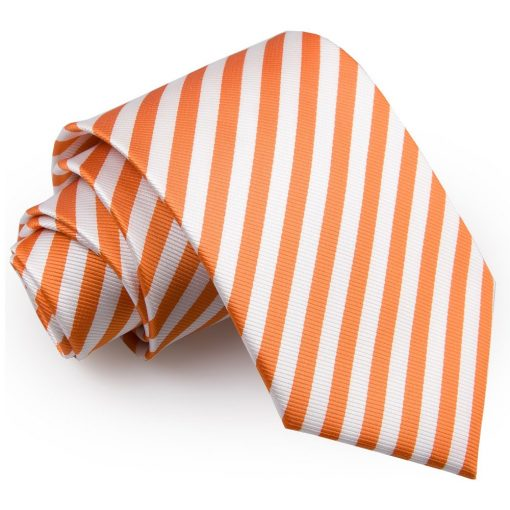 White & Orange Thin Stripe Classic Tie