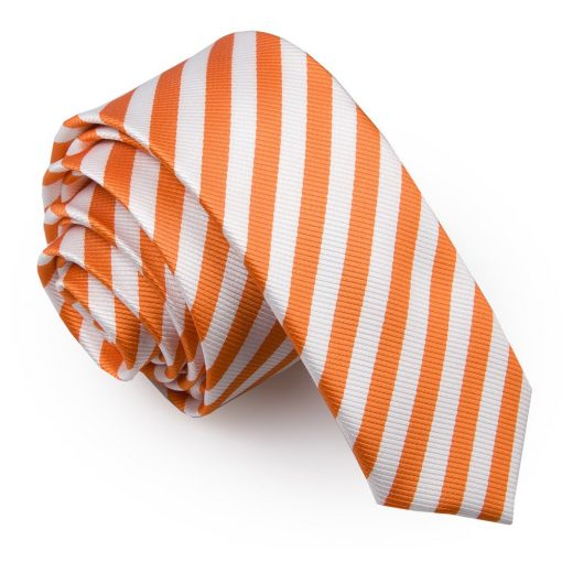 White & Orange Thin Stripe Skinny Tie