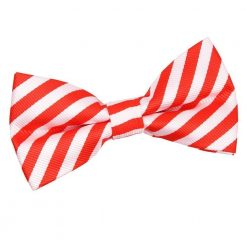 White & Red Thin Stripe Pre-Tied Bow Tie