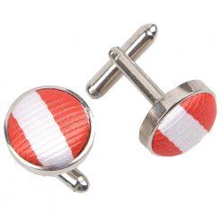 White & Red Thin Stripe Cufflinks