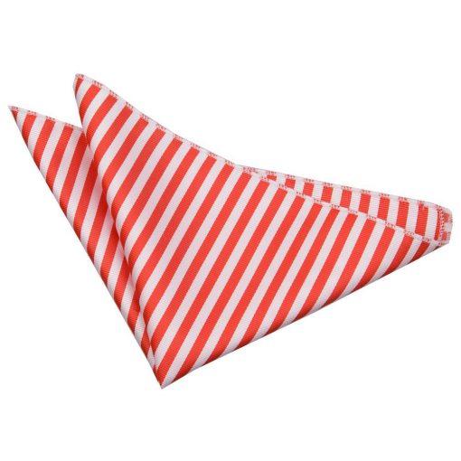 White & Red Thin Stripe Pocket Square