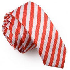 White & Red Thin Stripe Skinny Tie