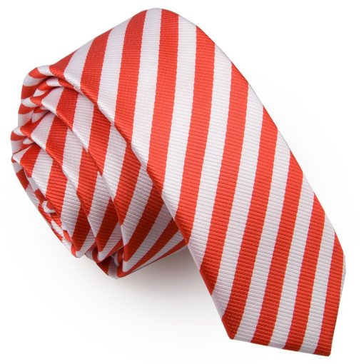 White & Red Thin Stripe Skinny Tie