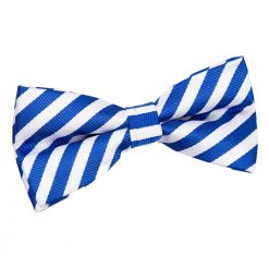 White & Royal Blue Thin Stripe Pre-Tied Bow Tie