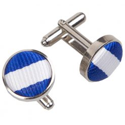 White & Royal Blue Thin Stripe Cufflinks