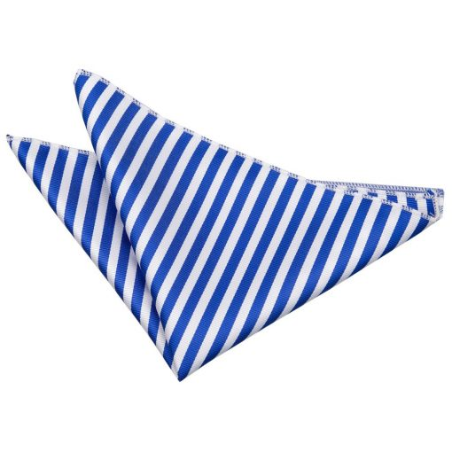 White & Royal Blue Thin Stripe Pocket Square