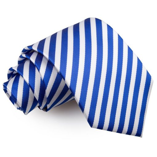 White & Royal Blue Thin Stripe Classic Tie