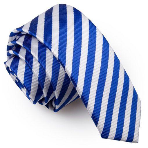 White & Royal Blue Thin Stripe Skinny Tie