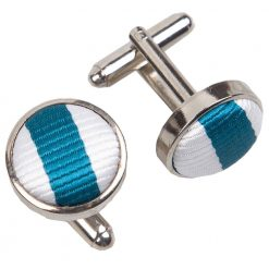 White & Teal Thin Stripe Cufflinks