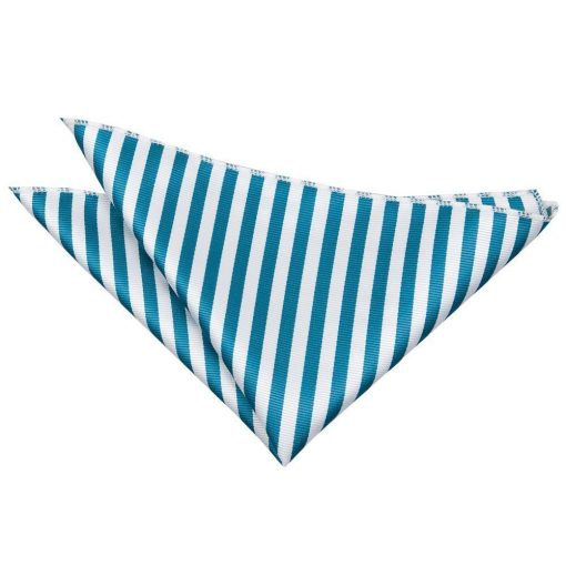 White & Teal Thin Stripe Pocket Square
