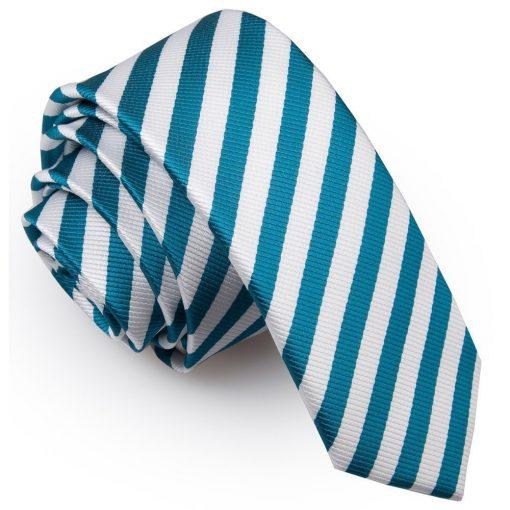 White & Teal Thin Stripe Skinny Tie