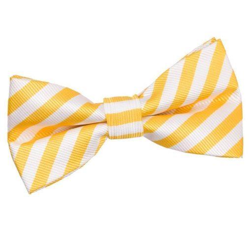 White & Yellow Thin Stripe Pre-Tied Bow Tie