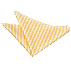 White & Yellow Thin Stripe Pocket Square