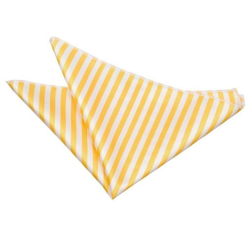 White & Yellow Thin Stripe Pocket Square