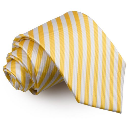 White & Yellow Thin Stripe Classic Tie