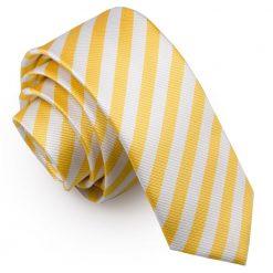 White & Yellow Thin Stripe Skinny Tie