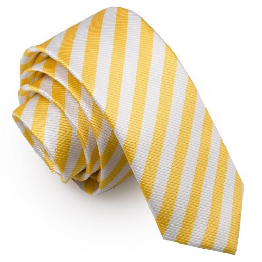 White & Yellow Thin Stripe Skinny Tie
