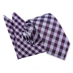 Purple Gingham Check Tie & Pocket Square Set