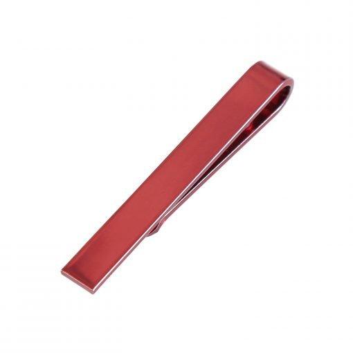 Red Plain Metal Tie Clip