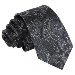 Black & Silver Royal Paisley Slim Tie