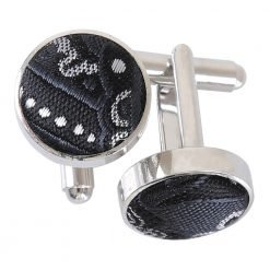 Black & Silver Royal Paisley Cufflinks