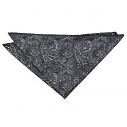 Black & Silver Royal Paisley Pocket Square