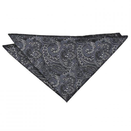 Black & Silver Royal Paisley Pocket Square