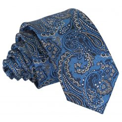 Blue & Silver Royal Paisley Slim Tie