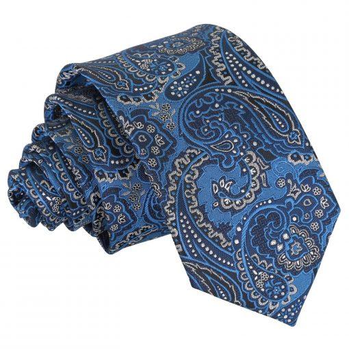 Blue & Silver Royal Paisley Slim Tie