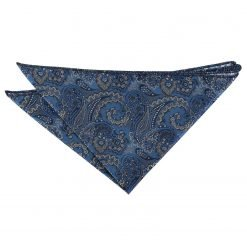 Blue & Silver Royal Paisley Pocket Square