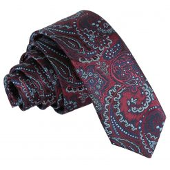 Burgundy & Navy Royal Paisley Skinny Tie