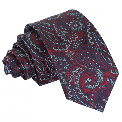Burgundy & Navy Royal Paisley Slim Tie