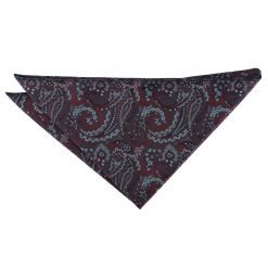 Burgundy & Navy Royal Paisley Handkerchief / Pocket Square